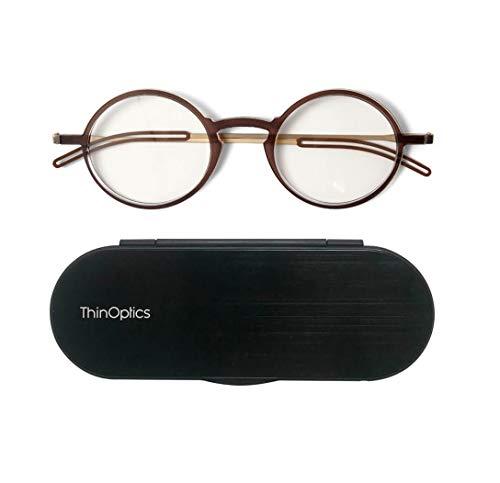 ThinOptics Gafas de lectura Manhattan + aluminio anodizado Milano, estuche magnético | Marcos redondos de color marrón, 1,50 de fuerza.