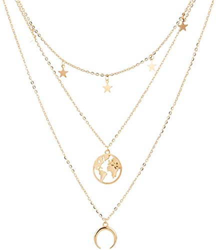 BACKZY MXJP Necklace Fashion Map Moon Pendant Necklace for Women Multilayer Gold Silver Color Clavicle Chian Long Necklaces Jewelry