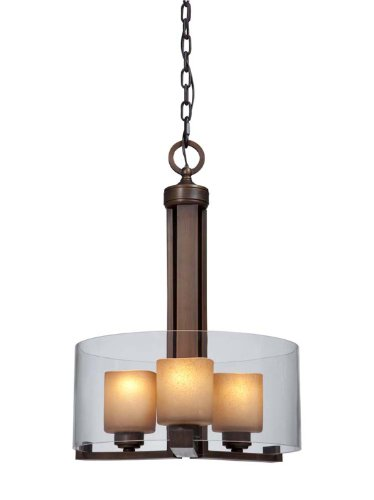 Artcraft Lighting Sierra Transitional 3-Light Chandelier, Distressed Rust With Double Glass Shade
