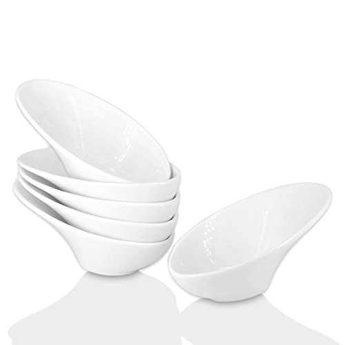Holitika Olive Oil dipping dishes-Soy Sauce Dish, Dipping Bowls Set, White Porcelain Dipping Sauce Bowls/Dishes for Soy Sauce, Ketchup, BBQ Sauce or Seasoning- 1 Oz,Set of 6,D2