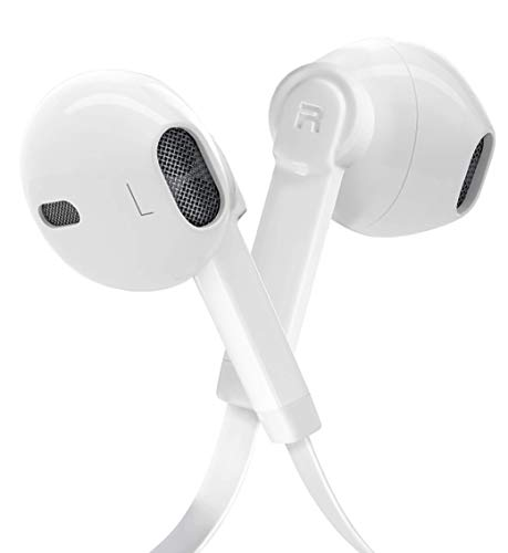 earbuds with microphone remotes Noise Isolation Earphones Premium Sound Headphones Earbuds Bass Enhance Stereo with Microphone Remote Control Compatible for Cell Phone/Tablets-White