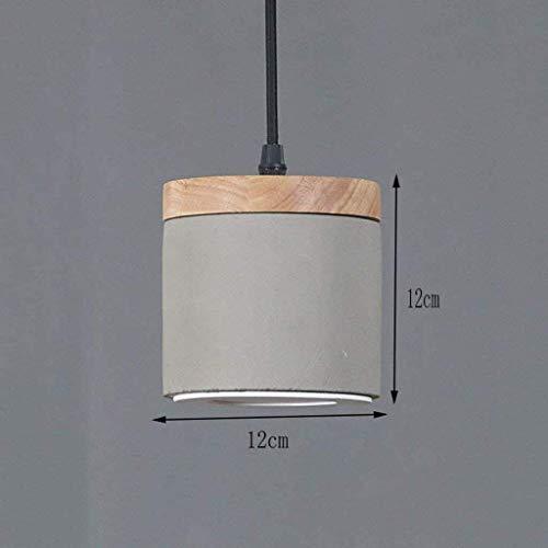 YUQIYU Lampadario a sospensione Lampada - Industrial vento Cemento singolo capo Chandelier/Creative Wood Ristorante Illuminazione a soffitto Chandelier (Color : Awhite Light)