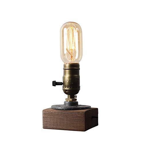 Inicio Creatividad-Lámpara de Mesa Lámpara de Escritorio Luz Tubo de Agua de Metal Lámpara de Mesa Cuadrado Interruptor Giratorio de Fondo de Madera Retro Estudio Sala de Estar Café 17 * 8.5Cm Mesa E