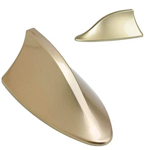 Antena de radio Zhuotop para techo del coche, radio AM y FM, línea universal, tipo aleta de tiburón dorado