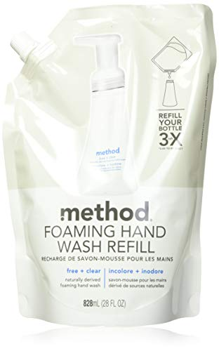 Method Foaming Hand Soap, Refill, Free + Clear, 28 Fl Oz (Pack of 6)