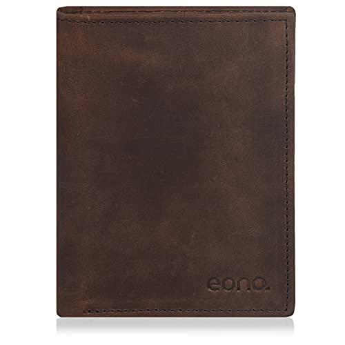 Amazon Brand - Eono - Cartera de Cuero para Mujer y Hombre con diseño Plano y protección contra Lectura RFID (Cuero marrón Vintage/Aspecto Usado) (Cuero marrón Vintage/Aspecto Usado)
