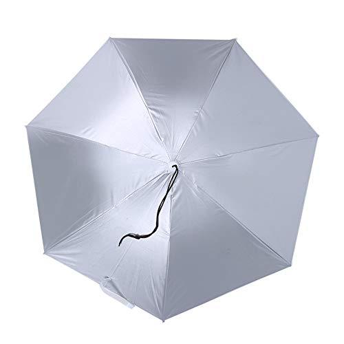 DERCLIVE 1Pcs 77Cm Protector Solar a Prueba de Viento Paraguas Montado en La Cabeza Superior Paraguas Plegable Sombrero Paraguas