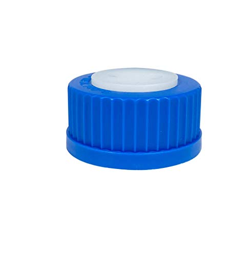 Blue GL45 Safety Cap with Two Holes for 1/4 Inch OD Tubing, GL-45 Cap Fitting Feed, Bottle Adapter, Bottle Cap Assembly (Pack of 5 Sets)