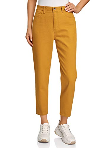 oodji Ultra Donna Jeans Mom Fit Colorati, Giallo, 26W / 32L