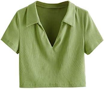 SheIn Women s Short Sleeve Lapel V Neck T Shirts Rib Knit Solid Crop Tee Top Green Medium product image