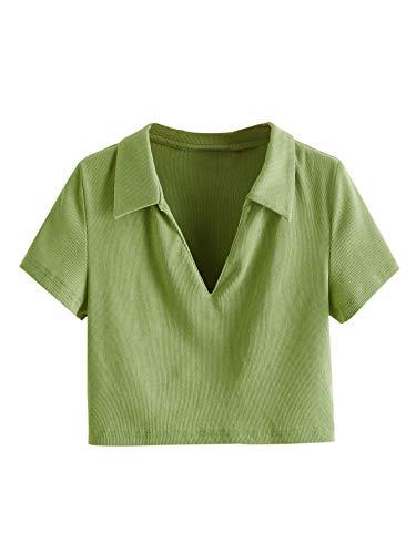 SheIn Women's Short Sleeve Lapel V-Neck T-Shirts Rib Knit Solid Crop Tee Top Green X-Large