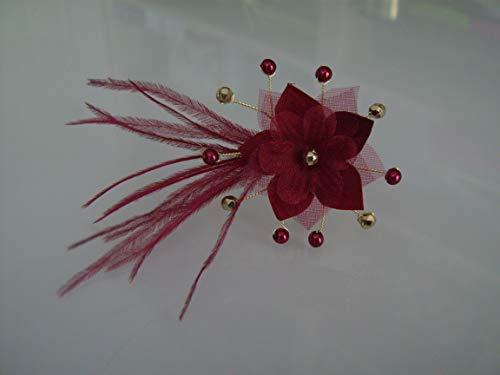 Pic Rouge/Bordeaux Basque/Grenat/Doré/Couleur'Or' Bijou/Epingle/Pince/Chignon Cheveux accessoire p robe Mariée/Mariage/Soirée Fleur Plume (pas cher, petit prix)