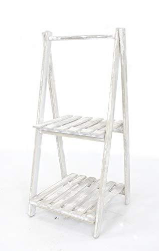 DARO DEKO Holz Blumen-Treppe Kalk-weiß 2-stufig - 90cm