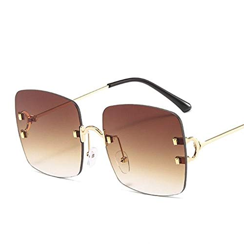 XCVB Damesmode Randloze zonnebril Dames Damesbrillen Vierkante zonnebril Metaal Heren Shades, C2 gouden thee