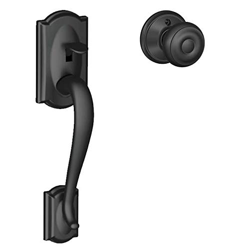 Schlage FE285 Camelot By Georgian Bottom Half Handleset with 16080 Latch and 10063 Strike Matte Black Finish