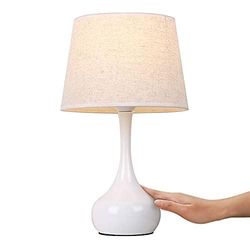Lámpara de mesa con control táctil, lámpara de noche regulable, lámpara de mesa de noche, lámpara de escritorio con pantalla de tela, para sala de estar, dormitorio, habitación de invitados,Blanco