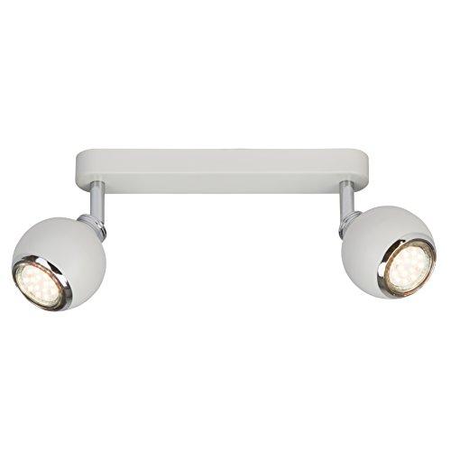 Brilliant Ina LED Spotbalken 2 flg Deckenstrahler schwenkbar weiß/chrom 500 Lumen, 2x GU10 3W LED-Reflektorlampen inklusive