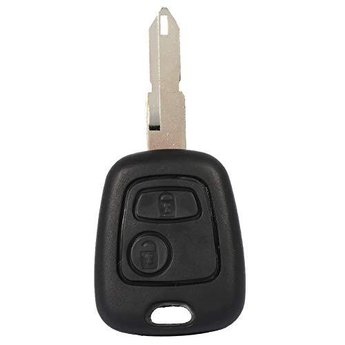 EVGATSAUTO Carcasa de Llave, 2 Botones, Hoja en Blanco sin Cortar, Mando a Distancia para Coche, Carcasa de Repuesto para Peugeot 206