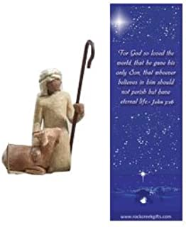 Willow Tree Shepherd and Goat Individual Nativity Figurine with Nativity Bookmark