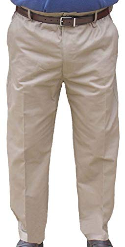 The Senior Shop Men's Full Elastic Waist Twill Pant with Zipper & Belt Loops 36W x 30L Khaki