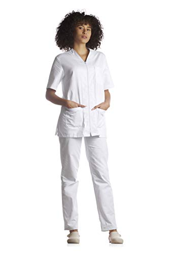 Tecno Hospital Divisa Completa OSPEDALIERA Casacca E Pantalone, OSS, ESTETICA Infermiere, Dottore, Unisex con Zip (XS, Bianco)