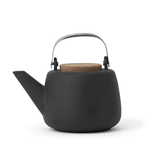 Teekanne Porzellan Abnehmbare Sieb Schwarz : tropffrei, mit edlen Griff, für Lose Tee, 1.3L