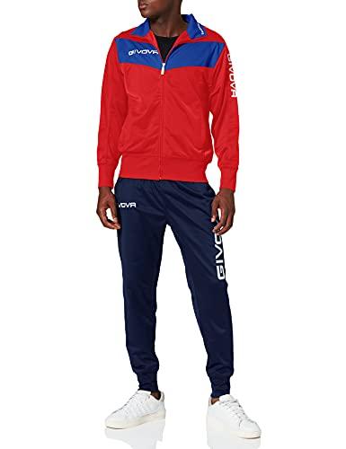 Givova Visa - Tuta Uomo, Multicolore (Azzurro/Rosso), XL