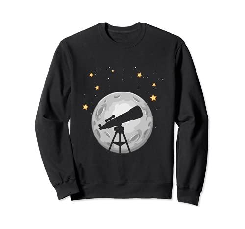 Teleskop Fernrohr Mond Sterne Beobachten Astronomie Weltall Sweatshirt
