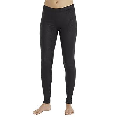 Cuddl Duds ClimateRight Stretch Fleece Warm Underwear Legging(XL, Black With Subtle Embossing)