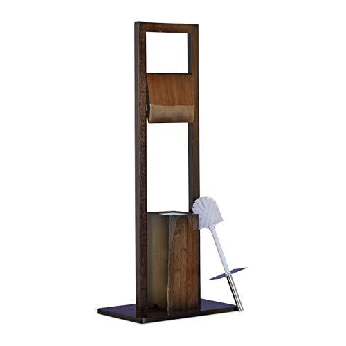 Relaxdays Escobillero Portarrollos de Pie, Bambú, Acero Inoxidable y Plástico, Marrón, 82 x 36 x 21 cm