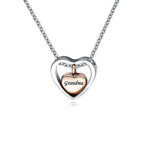 QeenseKc Rose Gold Double Heart Urn Necklaces for Ashes Grandma Cremation Jewelry for Ashes Keepsake Memorial Pendant Jewelry