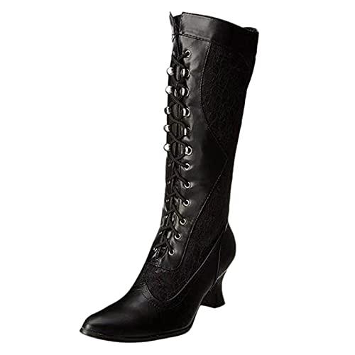 YWLINK Botas Altas De Mujer,Moda Rodilla Con Cordones Botas Botas De TacóN De Encaje Botas De Mujer De Invierno Botas De Mujer Baratas Botas De Panama Jack Botas Blancas negro (Negro, 39)