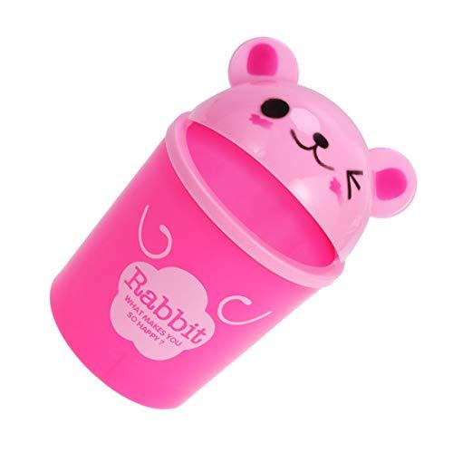 Jojofuny - Papelera de plástico para escritorio, diseño de animales de dibujo animado, mini cubo de basura, color rosa
