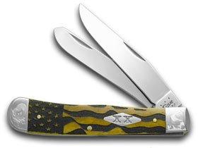 CASE XX U.S. Flag Antique Bone Scrolled Trapper Stainless 1/500 Pocket Knife Knives