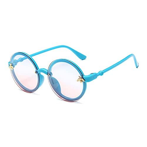 LIANGLMY Gafas de Sol Niños Gafas de Sol Chicas Muchachos Lindo Verano Marco Redondo Pequeñas Gafas de Sol Niños Vidrios Nueva Versión Moda Niños (Objektiv-Farbe : Blue)
