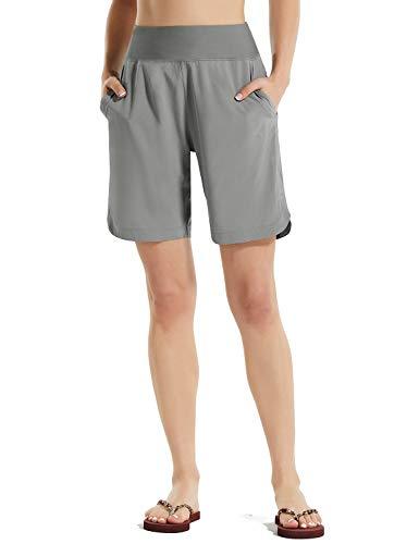 BALEAF Women Long Beach Board Shorts UPF 50+ Elastic Waist Quick Dry Swim Trunks Boardshorts with Pockets Modest Grey M