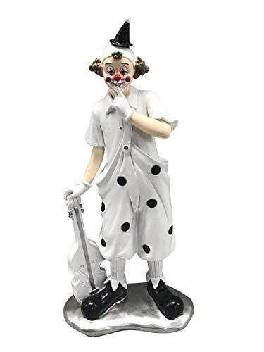 Oberle Dekofigur Musik Clown mit Geige schwarz weiß 25 cm Figur Karneval Köln Harlekin