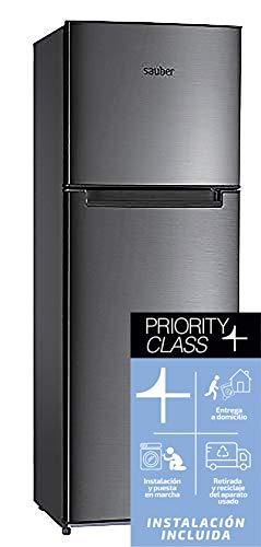 Sauber - Frigorífico Dos Puertas SF170I Tecnología NOFROST - Eficiencia energética: A+ - 170x60cm - Acero inoxidable