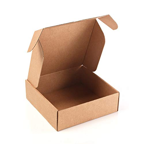 Kartox | Pack 20 Cajas de Cartón Kraft Para Envío Postal | Caja de Cartón Automontable para Envío o Almacenaje | Medidas interiores en cm (largo x ancho x alto): 13 x 15 x 4