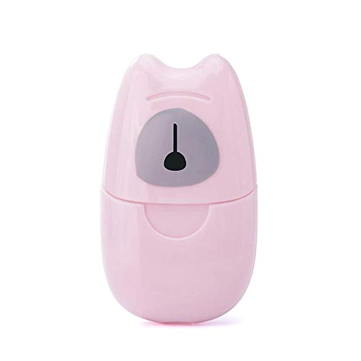 デコレーションシェトランド諸島偽物箱入り石鹸紙旅行ポータブル屋外手洗い石鹸香料入りスライスシート50ピースプラスチックボックス付きミニ石鹸紙-ピンク