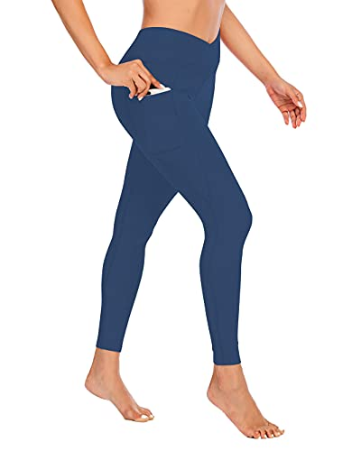 Miss Adola Women's High Waisted Yoga Pants with Pockets, High Waisted Legging-Tummy Control Non-See Through Workout Leggings Navyblue