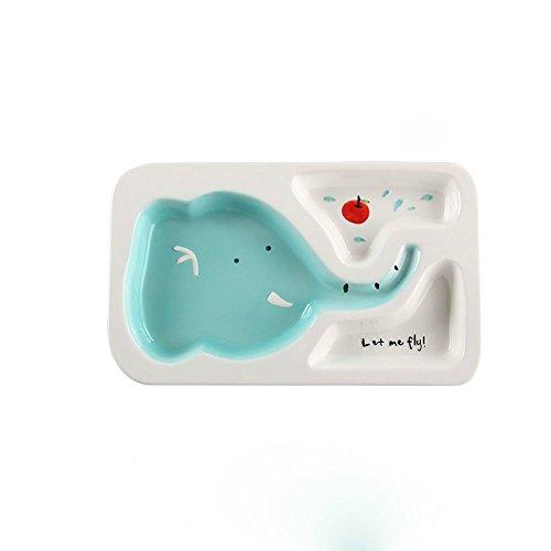 zhpjjlyhtq Le Repas des Enfants Cartoon Compartiment Plaque Plaque de séparation bébé Vaisselle pour Enfants Cute céramique Assiette Petit-déjeuner Accueil séparés Rice Plate,Elephant - Plat Unique