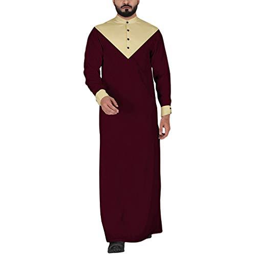 Herren Muslim Pullover Lange Ärmel Slim Fit Sweatshirt Nahen Osten Dubai Araber Kaftan Mantel Vintage Volle Länge Herbst Winter Outerwear