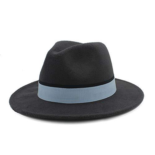 XY-hat Calentar Hombres Mujeres Sombrero de Invierno Fedora con cinturón de Tela Sombrero de Iglesia de ala Ancha Pop Sombrero de Jazz Salvaje Informal Moda (Color : Dark Gray, Size : 56-58)