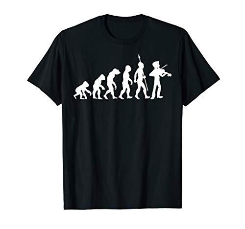 Geige Violine Geiger Violinist Geigenspieler Musik Evolution T-Shirt