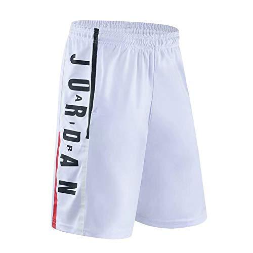 NNLX Pantaloncini da Basket da Uomo Bulls Jordan # 23 - Corsa Sportiva e Fitness Casual Pantaloncini Elastici con Tasche M-3XL-White-M