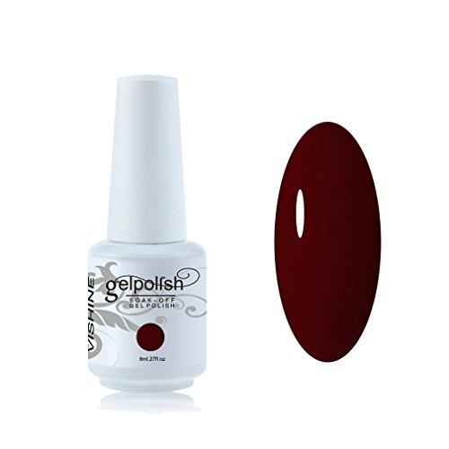 Vishine Vernis à ongles 8ml Semi-permanent GelPolish Soak-off UV LED Manucure Vernis Gels Rouge foncé #1418