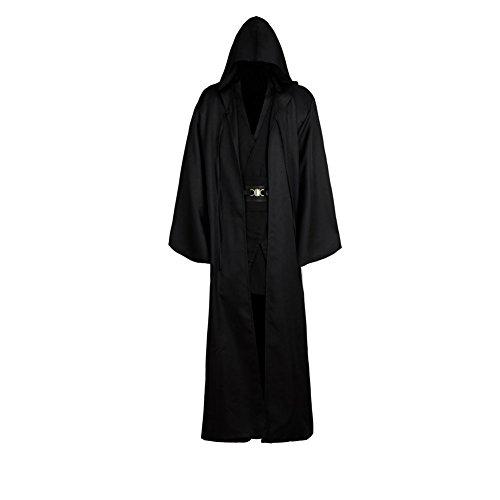 helymore Disfraz de Guerrero Medieval para Hombres Disfraz de Soldado Caballero Conjunto Completo Negro, S