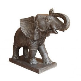 Asiastyle Elephant Standing on Base Water Feature Skulptur Mehrfarbig 107 x 40 x 80 cm