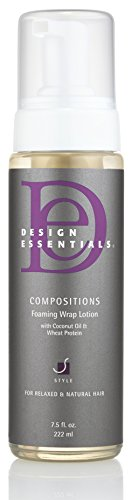 Design Essentials Compositions Non-Flaking Foaming Wrap Lotion for Smoothing, Molding, Styling Relaxed and Natural Hair with Coconut Oil & Wheat Protein for Luminous Shine-7.5oz